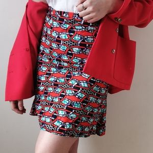Wax Inspired Red and Turquoise Trumpet Skirt